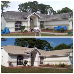 Grey tile roof cleaning