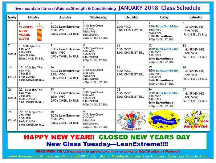 Fivemountainfitness Monthly Class Schedule