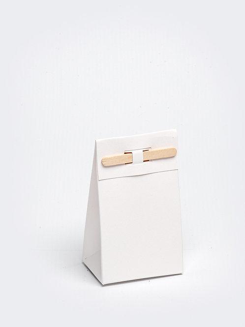 Kartonnen doosje met houten stokje - wit