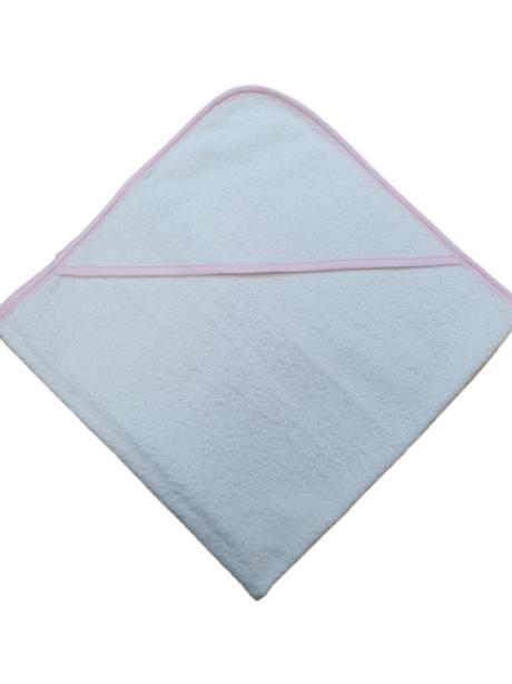 Badcape - wit met roze