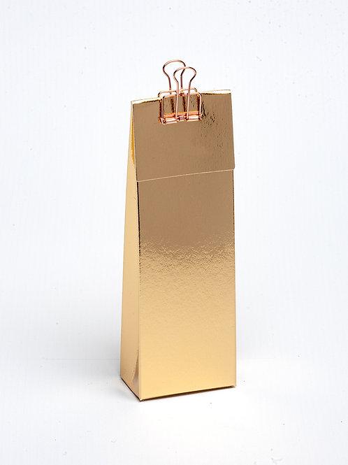 Hoog doosje met klep in karton - goud