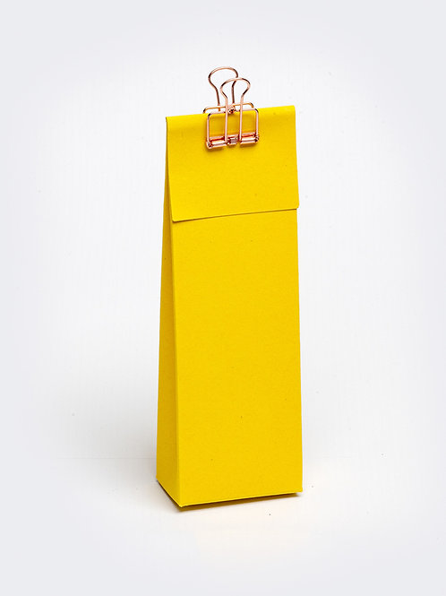 Hoog doosje met klep in karton - oker