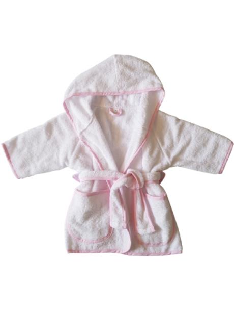 Badjas - wit met roze
