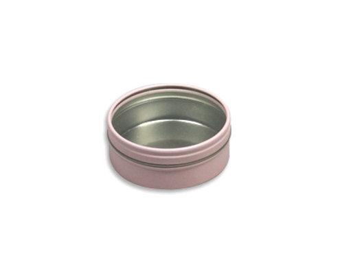 Rond blik - doorzichtig deksel Roze