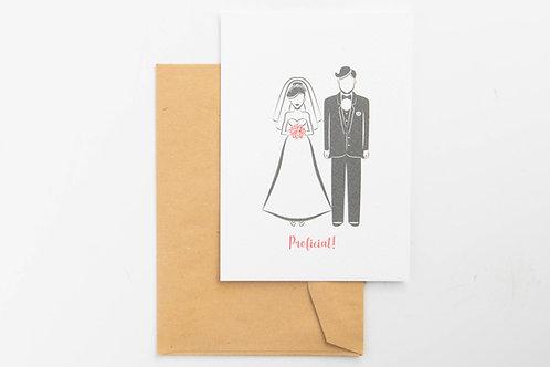 Wenskaart - bruidspaar Proficiat