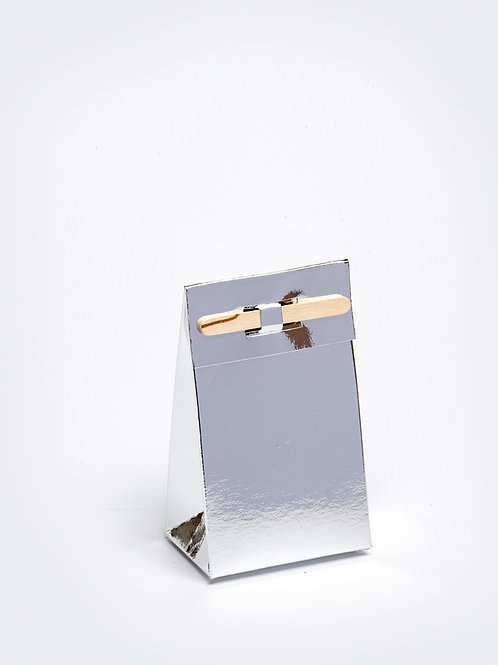 Kartonnen doosje met houten stokje - zilver
