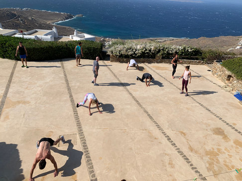 Morning workout at one of the luxury villas