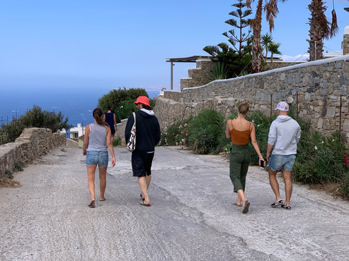 Our Mykonos Retreat guests using their downtime for a hike