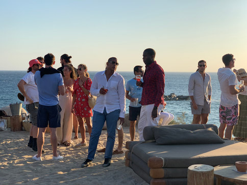 Guests socialising on the beach. A big part of our retreats