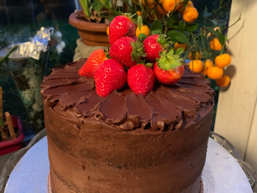 Triple chocolate and strawberry cake