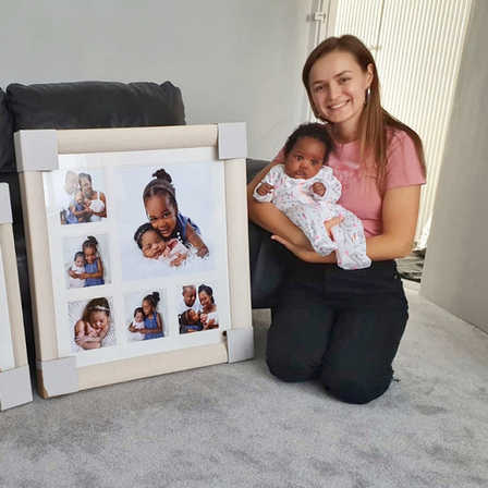 Simona with all framed photo and impressions