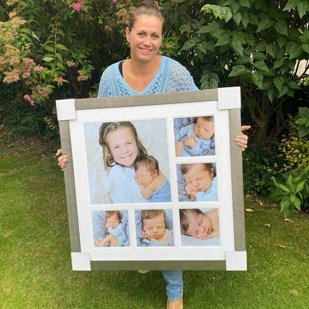 Mel with framed phots