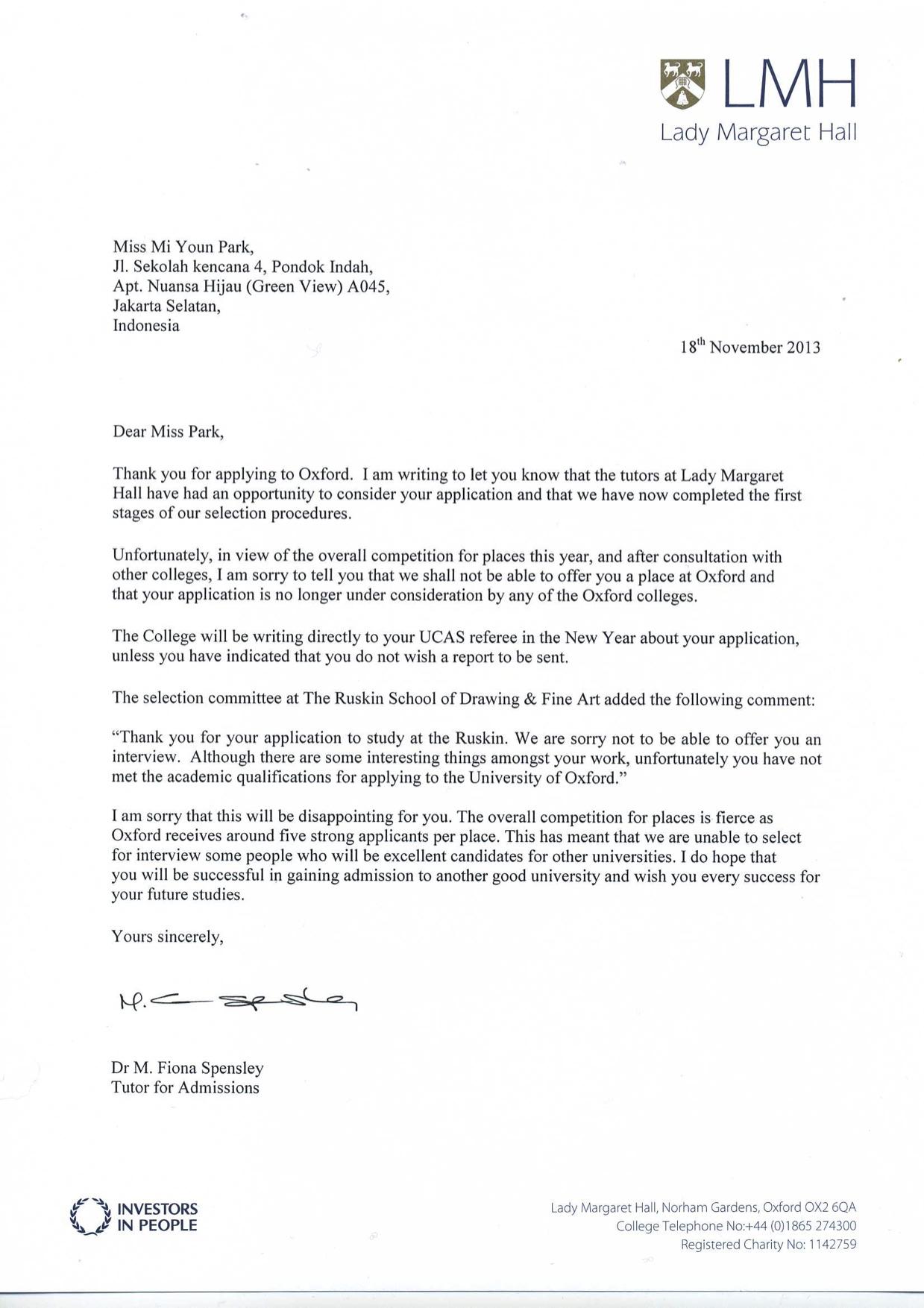 oxford rejection letter 2014
