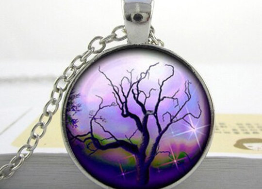 Tree Pendant Necklace - Glass Domed