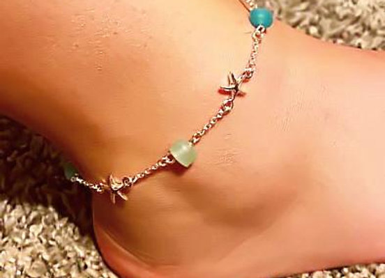 Starfish Seaglass Charm Anklet Ankle Bracelet
