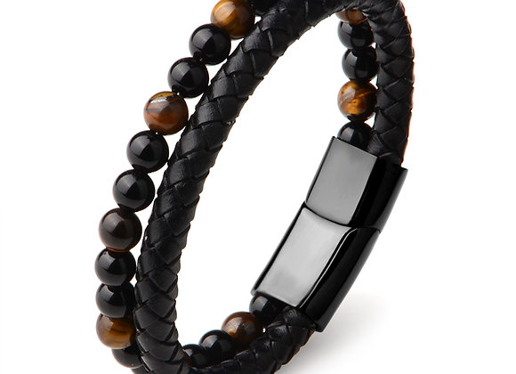 Bracelet, Tiger Eye  Beaded Leather