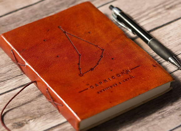 Capricorn | Leather Journal | Handmade