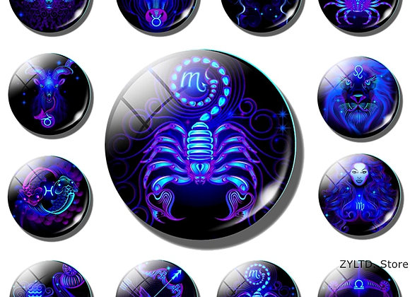 Zodiac Round with Magnetic back