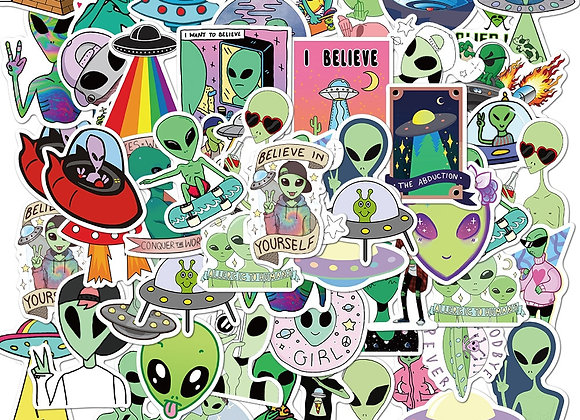 UFO Sticker Collection - 10 or 50 piece sets