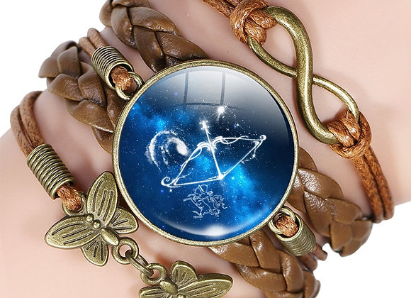 Copper & Leather Zodiac Bracelet