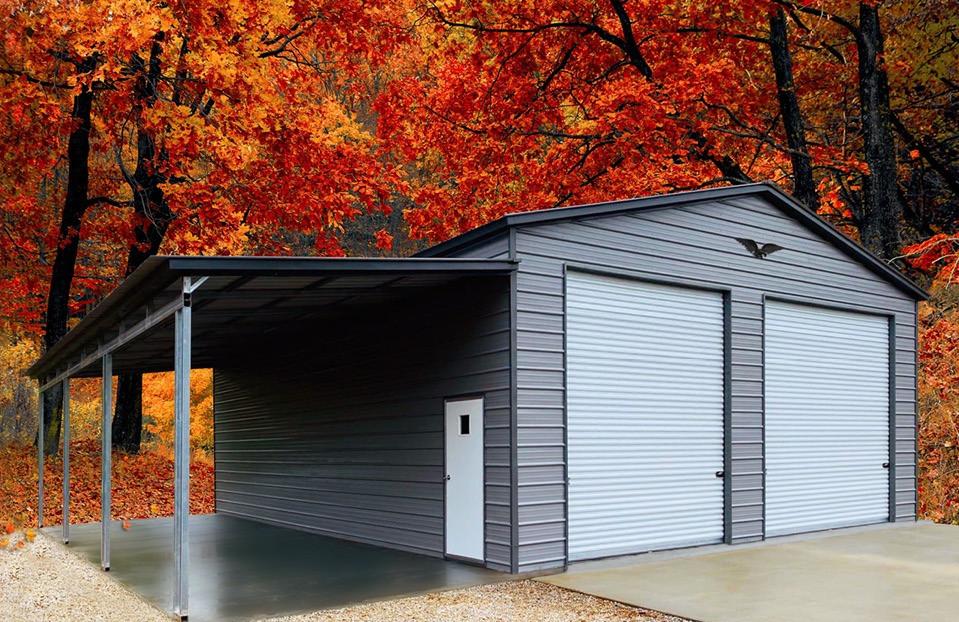 Garage w/ Lean-To