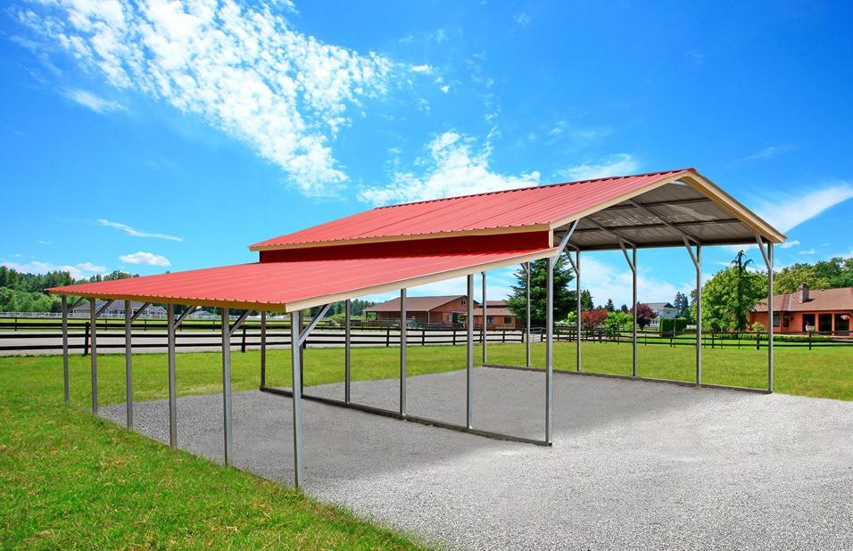 Triple Wide Carport w/ Lean-To