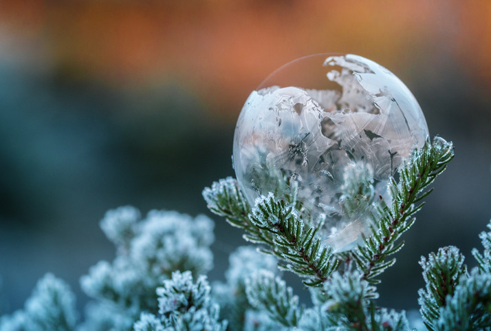 Frostige Seifenblase