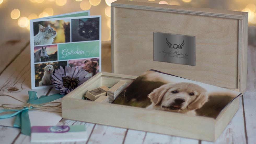 """Gutschein für """"Tiershooting"""" PREMIUM mit Geschenkbox und USB-Stick"""