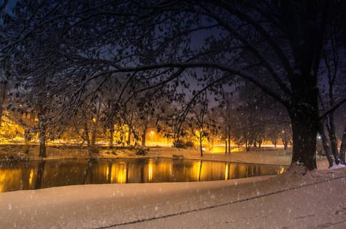 Geroweiher bei Nacht - Mönchengladbach