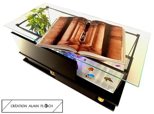 Table basse EGYPTIENNE 90 CM (Noir) - Aquarium 20 LED