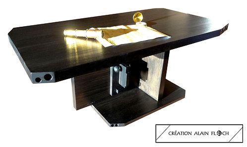 Table basse sculpture TOTEM avec éclairage LED + télécommande - Bois Massif