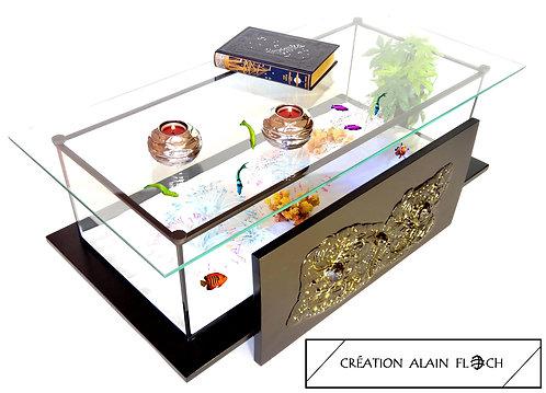 Table basse ANTIKOR 92 CM Vitrine Etanche Aquarium équipé - Art Moderne