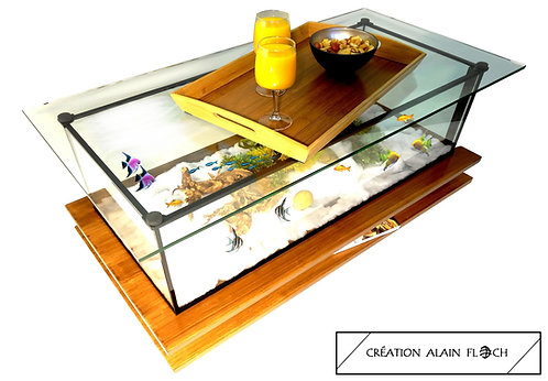 Table Basse Aquarium MEDUSA bois Massif Plateau Verre Relevable