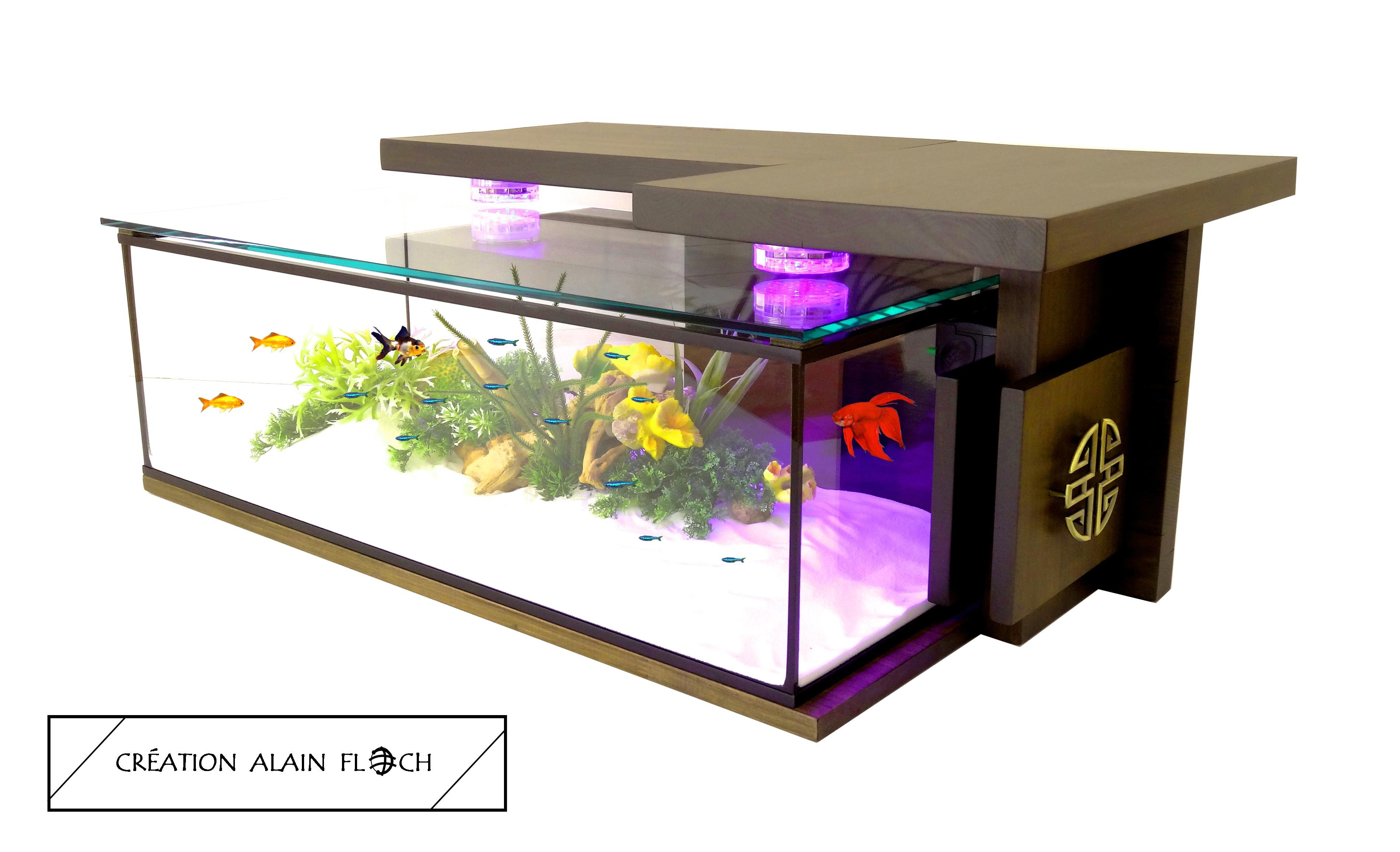 chaussures de sport dfc53 99edd Table basse aquarium MONASTIK 20 LED + Filtre interne design