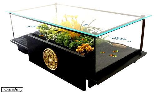 Table Aquarium / Vitrine DRAGON VOLANT 95CM Bois Massif LED Verre Diamant