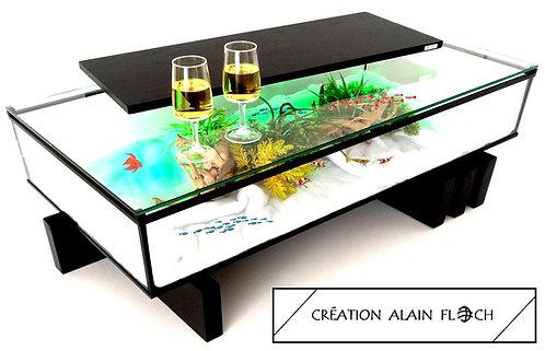 Table basse Aquarium AMARINA 30 LED - Filtration 200 L/H au charbon actif
