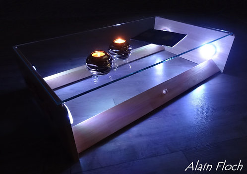 Table Basse design AMBIANCEA 40 LED sans fil + Télécommande Bois Massif