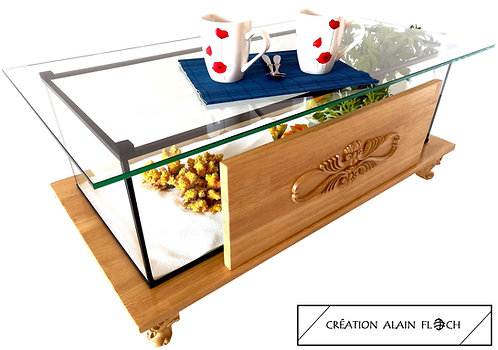 Table Basse Aquarium BAROQUE (Beige/Miel) - Vitrine Etanche ou Aquarium 20 LED