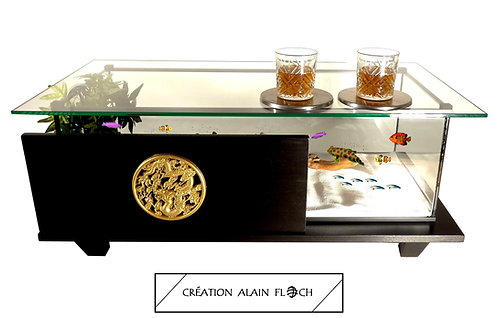 Table basse DRAGON VOLANT 90 CM (Noir) - Aquarium 20 LED