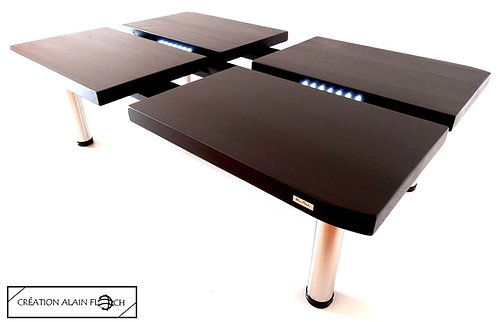 Table basse NOISE 110 x 70 cm - Design Moderne Eclairage Blanc 14 LED sans fil