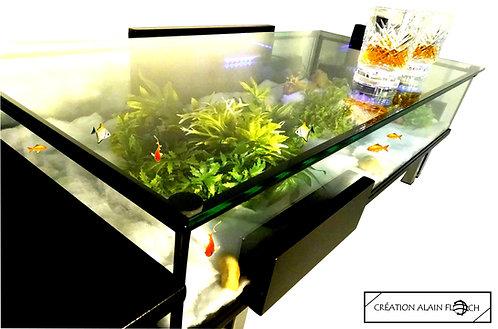 Table Basse Aquarium MODULABLE 148CM Bois Massif Plateau Verre Relevable