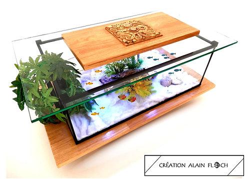 Table basse DRAGON 75 CM (Beige/Miel) - Aquarium 20 LED