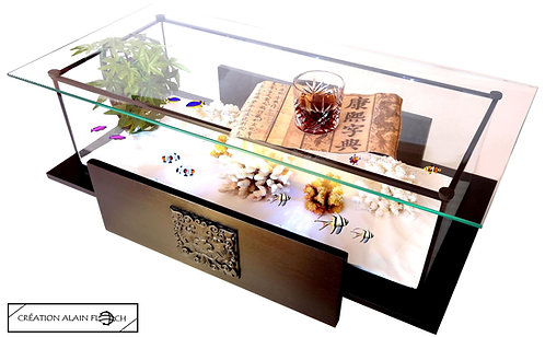 Table basse DOUBLE DRAGON 92 CM (Noir) - Vitrine Etanche ou Aquarium 20 LED