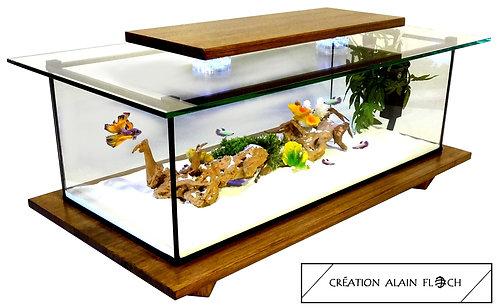 Table basse ESPERANZA 90 CM - Vitrine Etanche ou Aquarium 20 LED