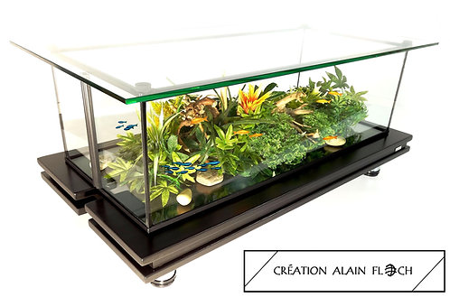 Table Basse Aquarium IMPERIATOR Bois Massif Plateau Verre Relevable