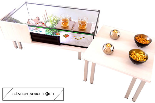 Table basse Aquarium MODULABLE 144 cm Plateau Verre Relevable BOIS MASSIF BLANC