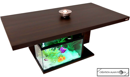 Table basse Anti Stress OTENTIK - Design 27 LED Bois Massif 34mm avec Aquarium