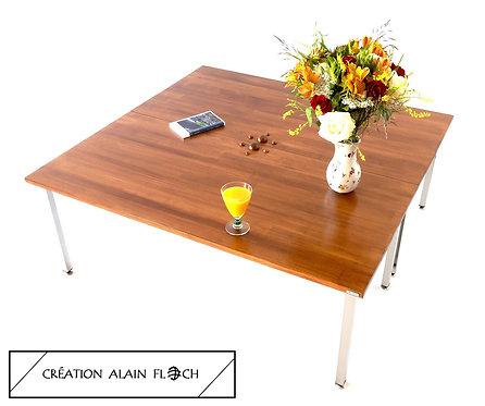 Grande Table Basse Carrée CARRETTA Haute 43 cm Unique avec Sculpture Centrale