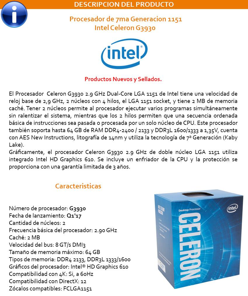 Procesador Intel Celeron G3930 2.9Ghz 2MB LGA1151