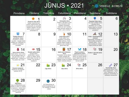 Vesels Birojs labsajūtas kalendārs jūnijam